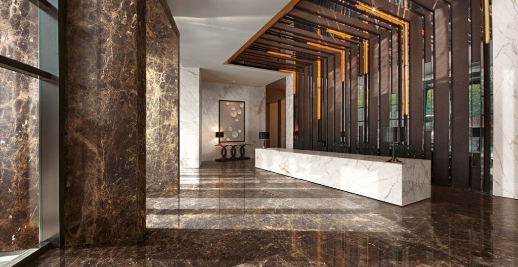 Marquina Marble Tiles In Lobby