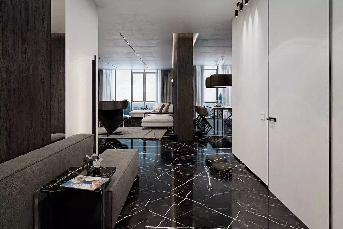 Marquina Marble Tiles In Residential Area