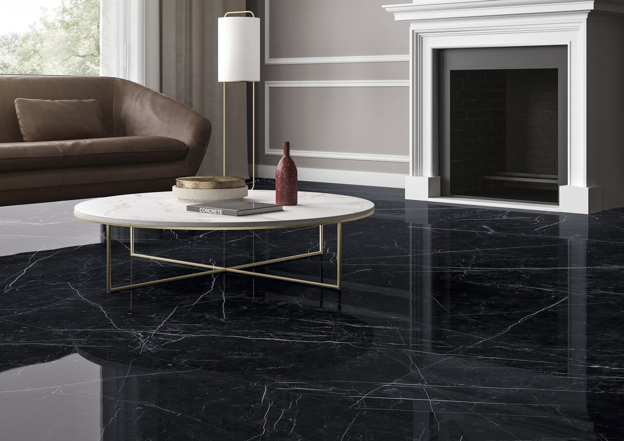 Marquina Marble Tiles On Flooring