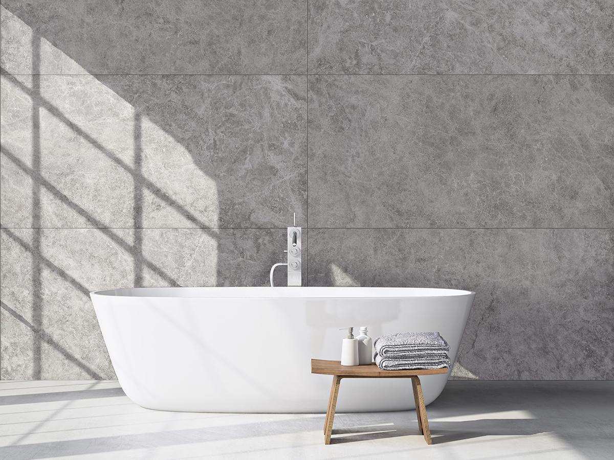 Silver Marble Tiles On Wall