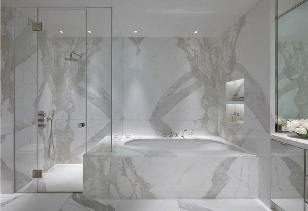 Staturio Marble Slab In Bathroom