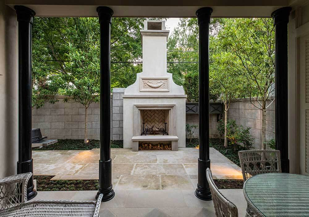 Staturio Marble Slab In Outdoor Fireplace