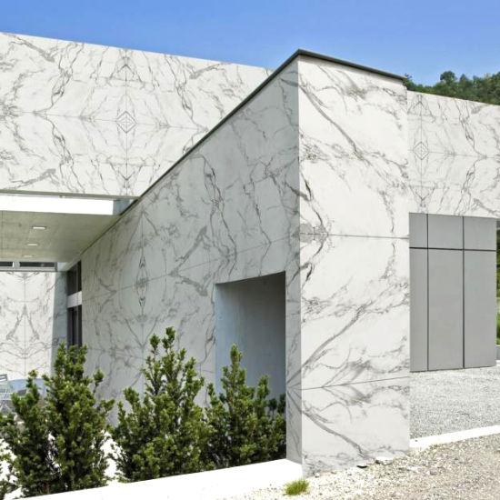 Statuario Marble Tiles On Exterior Wall