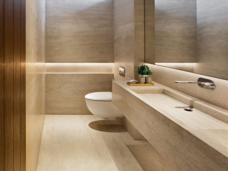 Travertino Marble Slab In Bathroom