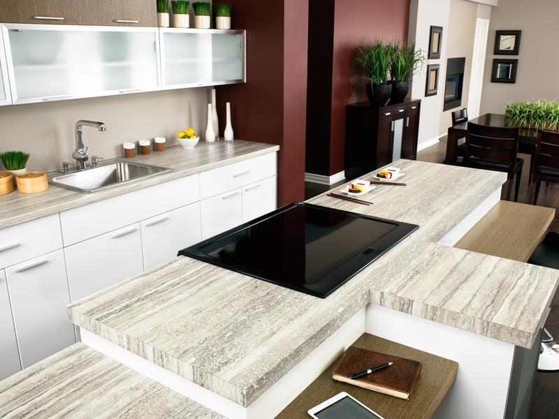Travertino Marble Slab In Kitchen