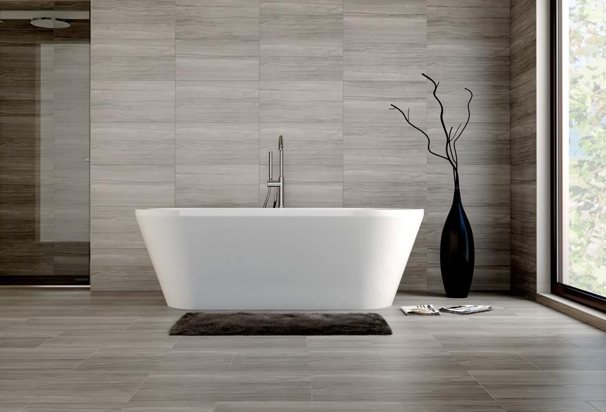 Travertino Marble Slab In Master Bathroom