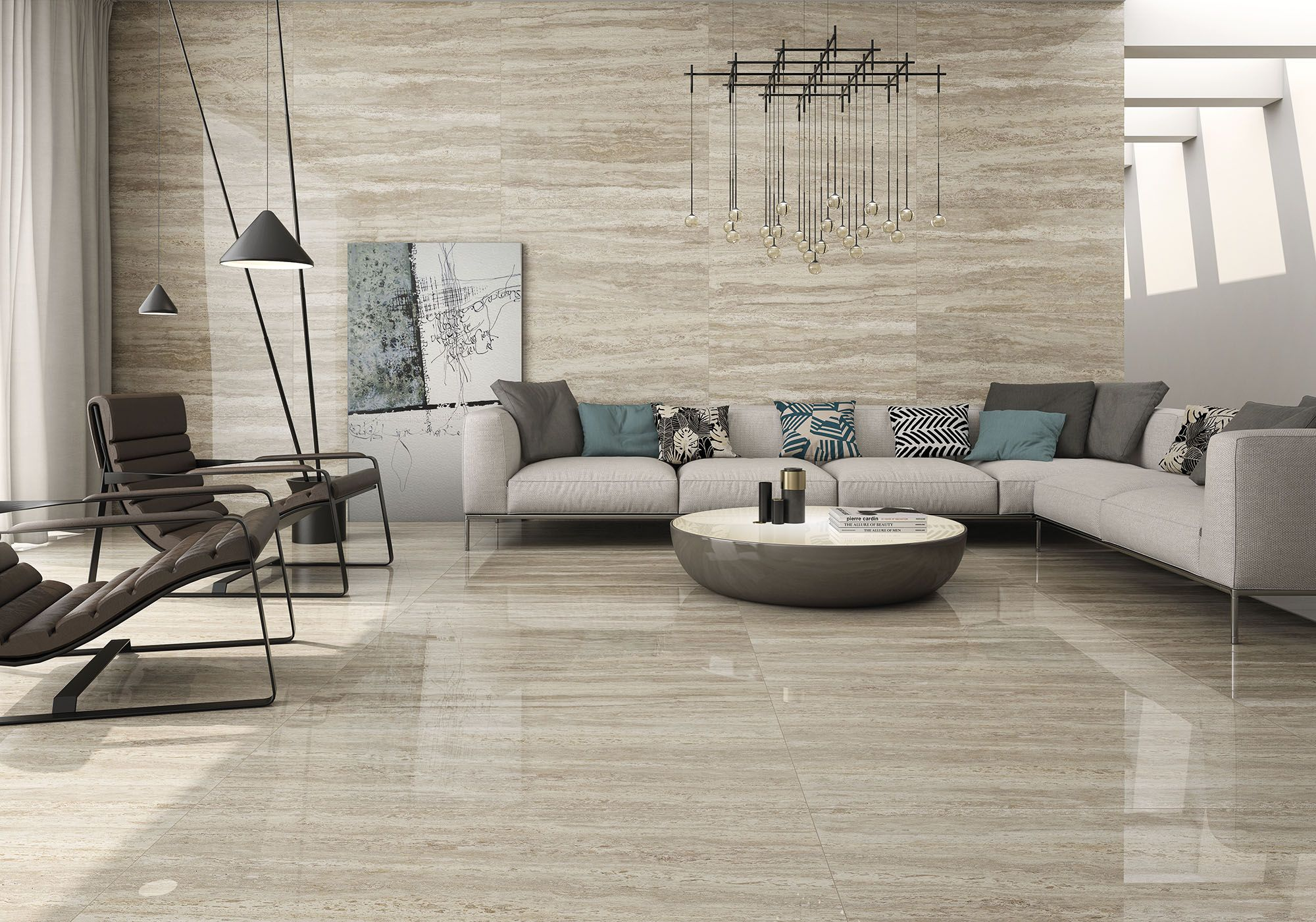 Travertino Marble Slab in Living Room