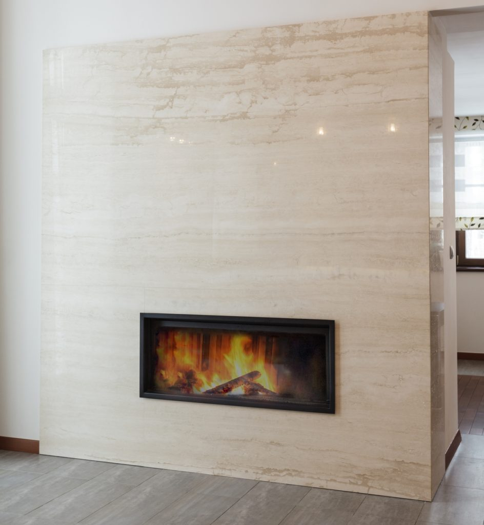 Travertino Marble Slab On Fireplace Area
