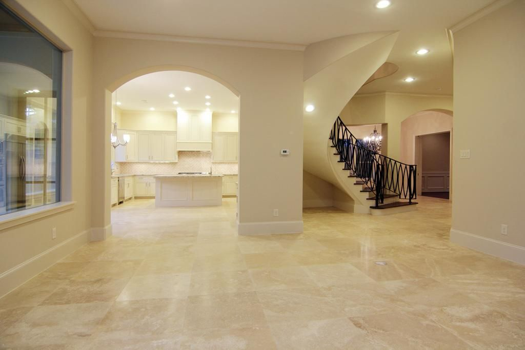 Travertino Marble Tiles In Hallway