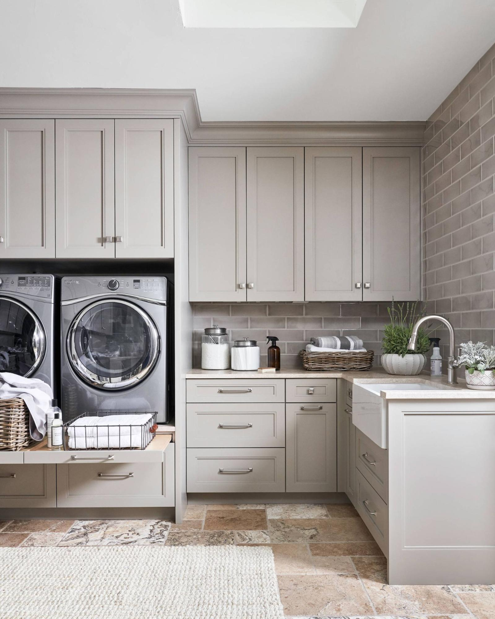 Travertino Marble Tiles In Laundry Room